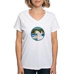 Sailboats/Arabian Horse (w) Women's V-Neck T-Shirt