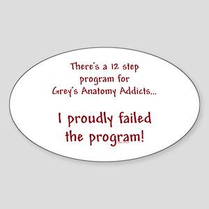 12 Step Greys Anatomy Program Sticker (Oval)