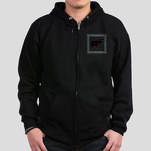 Teal Moose Quilt Zip Hoodie (dark)