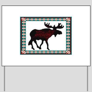 Teal Moose Quilt Yard Sign