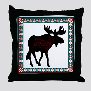 Teal Moose Quilt Throw Pillow