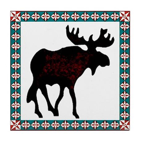 Teal Moose Quilt Tile Coaster