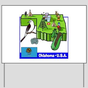Oklahoma Map Yard Sign
