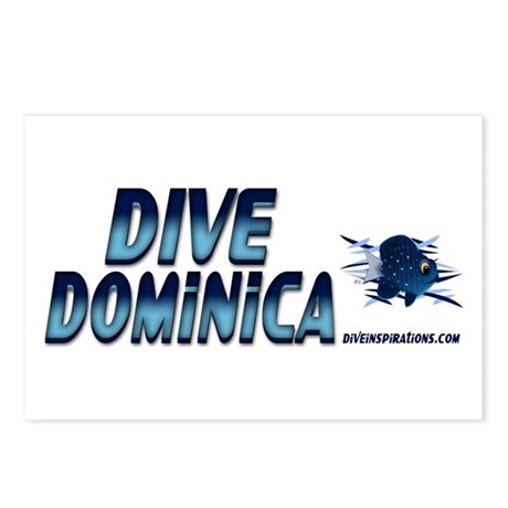 Dive Dominica (blue) Postcards (Package of 8)