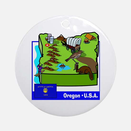 Oregon Map Ornament (Round)