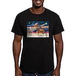 XmsStar/Horse (Ar-Br) Men's Fitted T-Shirt (dark)