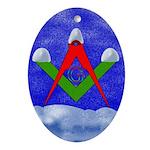 Masonic Snowy S&C Oval Ornament
