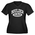 Boulder Colorado Women's Plus Size V-Neck Dark T-S