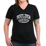 Boulder Colorado Women's V-Neck Dark T-Shirt