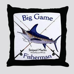 Striped Marlin Throw Pillow