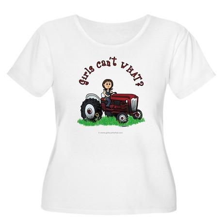 Light Red Farmer Women's Plus Size Scoop Neck T-Sh