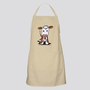 Brown and White COW Apron