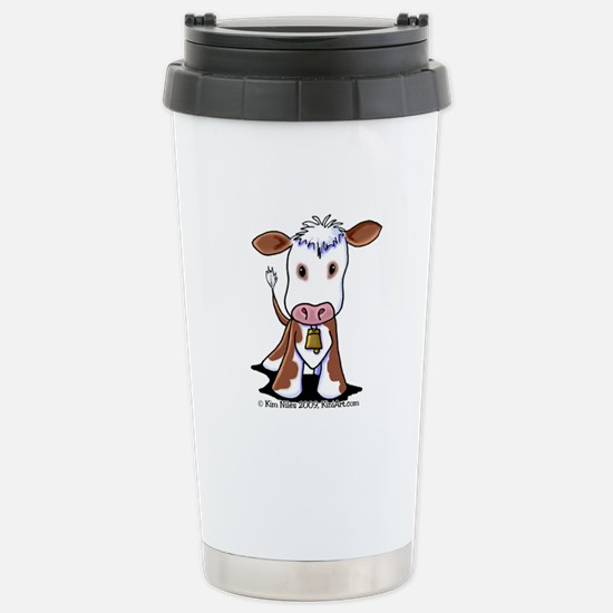 Brown and White COW Stainless Steel Travel Mug