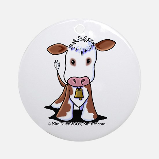 Brown and White COW Ornament (Round)