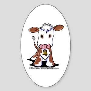 Brown and White COW Sticker (Oval 10 pk)