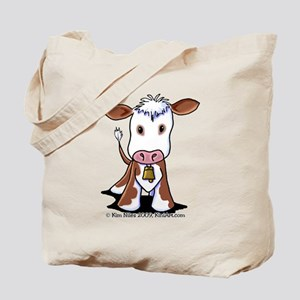 Brown and White COW Tote Bag