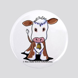 "Brown and White COW 3.5"" Button"