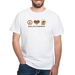 Peace, Love, Homebrew White T-Shirt