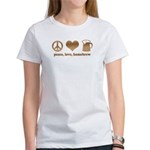 Peace, Love, Homebrew Women's T-Shirt