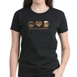 Peace, Love, Homebrew Women's Dark T-Shirt