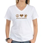 Peace, Love, Homebrew Women's V-Neck T-Shirt