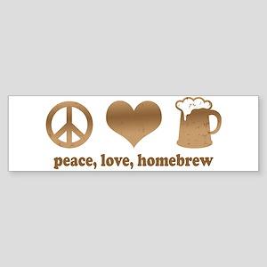 Peace, Love, Homebrew Bumper Sticker