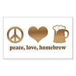 Peace, Love, Homebrew Rectangle Sticker