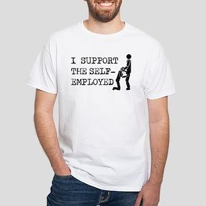 I Support Self-Employed White T-Shirt