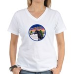 TakeOff2/Horse (Ar-blk) Women's V-Neck T-Shirt
