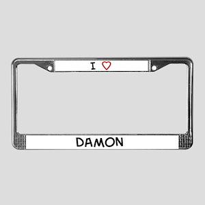 I love Damon License Plate Frame