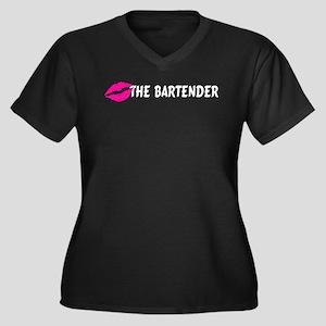 Kiss The Bartender Women's Plus Size V-Neck Dark T