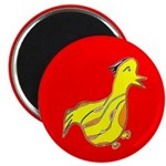 """Cute Waddling Duck 2.25"""" Magnet (10 pack) red"""