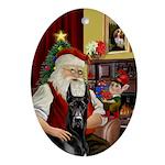 Santa's Black Great Dane Oval Ornament