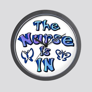 The Nurse Is IN (blue) Wall Clock