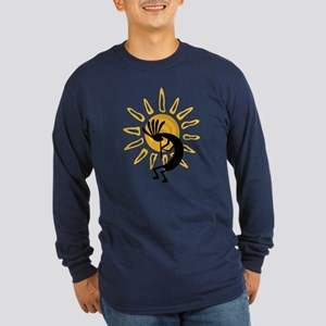 Hopi Kokopelli Gold Long Sleeve Dark T-Shirt