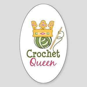 Crochet Queen Oval Sticker