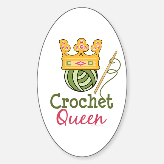 Crochet Queen Oval Decal