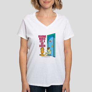 Reading Makes Life Easier Women's V-Neck T-Shirt