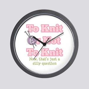 To Knit Or Not To Knit Wall Clock