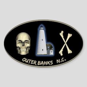 OBX-Ocracoke Skull-n-Bones Oval Sticker