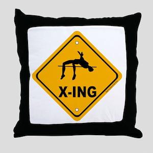 High Jump X-ing Throw Pillow