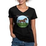 Hanoverian Sport Horse Women's V-Neck Dark T-Shirt