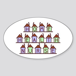 Home Health Nurse Houses Oval Sticker