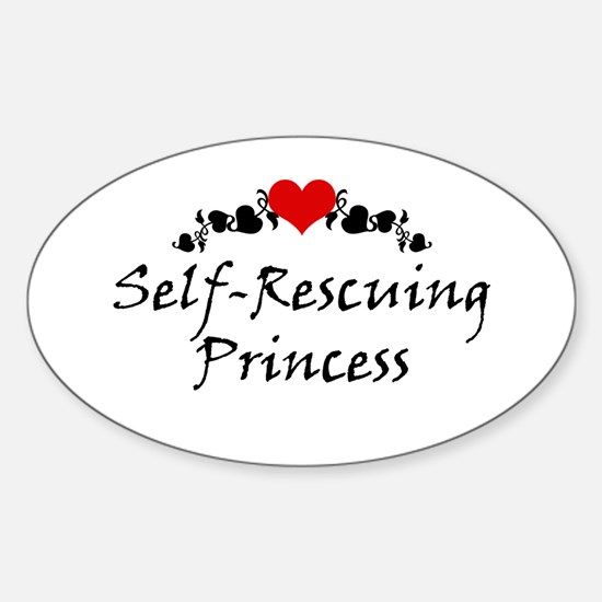 Self-Rescuing Princess Oval Decal