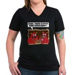 MONSTER eat CLOWNS Women's V-Neck Dark T-Shirt