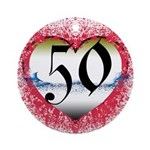 Gothic Heart 50th Ornament (Round)