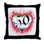 Gothic Heart 50th Throw Pillow