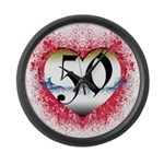 Gothic Heart 50th Large Wall Clock