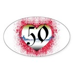 Gothic Heart 50th Oval Sticker (50 pk)