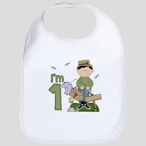Lil Fisherman First Birthday Cotton Baby Bib